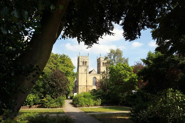 Worksop Priory in the sunshine.