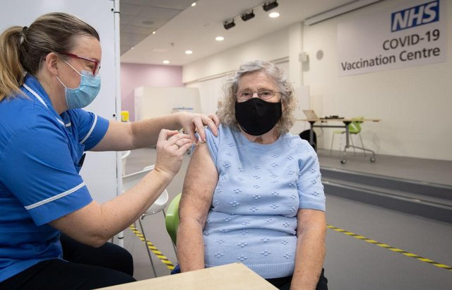 The vaccination effort continues (Photo by JOE GIDDENS/POOL/AFP via Getty Images)