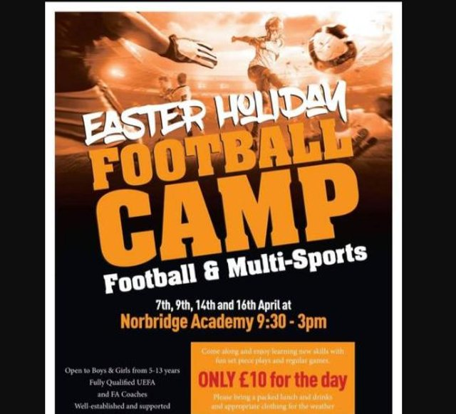 A football camp is being held in Worksop over the Easter holidays