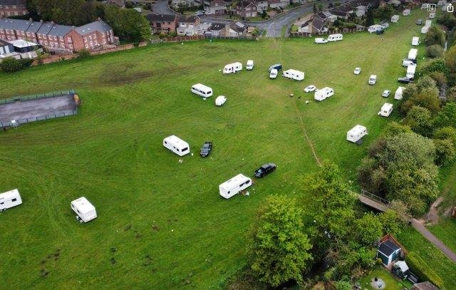 Drone footage of Farr Park at the time of the first encampment.