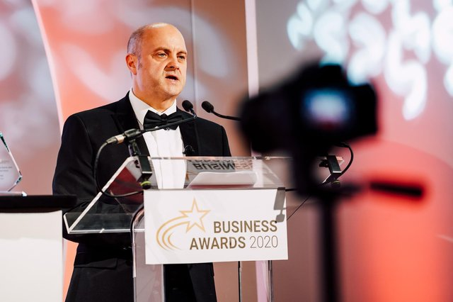 Chamber chief executive Scott Knowles speaking at the 2020 Business Awards