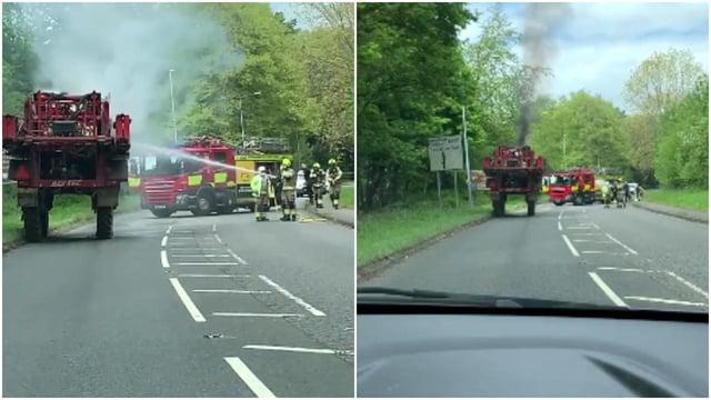 Firefighters battle the blaze on Sparken Hill.