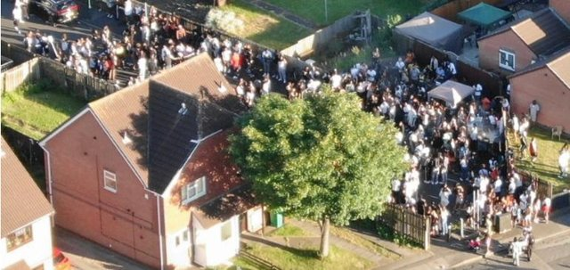 The illegal gathering in Bramble Close, Old Basford, Nottingham.
