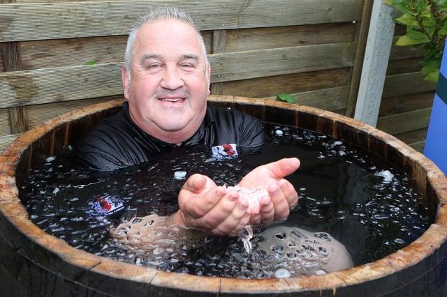Mark Walker in his barrel of ice water.