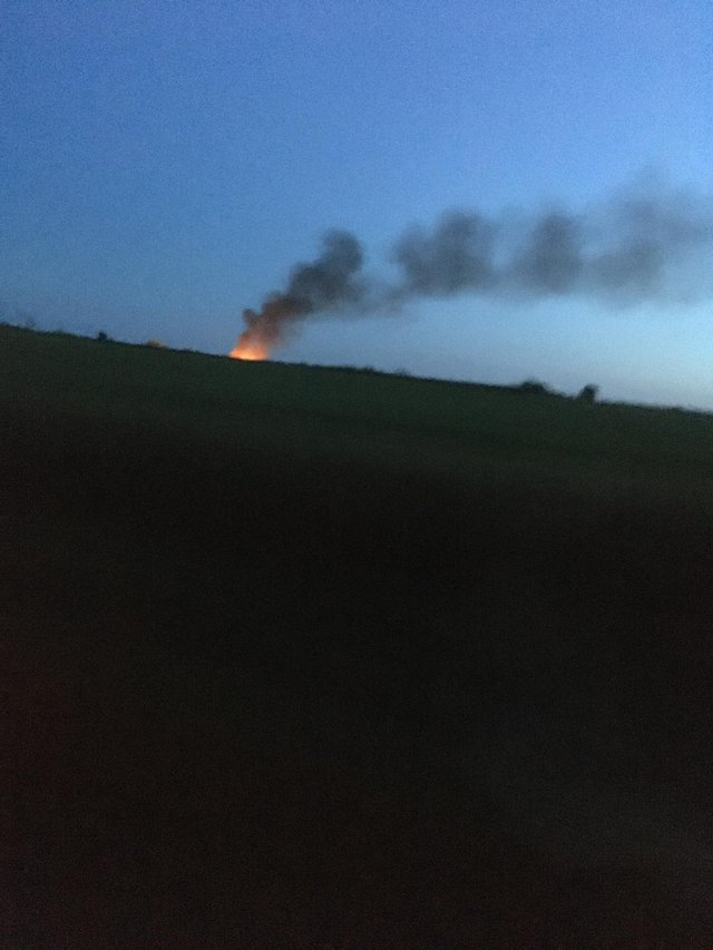 Flames and smoke can clearly be seen from the fire at South Anston.