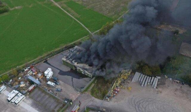 An aerial photo of the blaze at Plum Tree Road Industrial Estate.