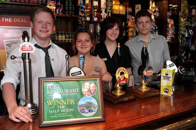 Can you spot anyone you know in our retro pub pictures? The team at the Half Moon from left Danny Taylor, Jen Jaffray, Holly Stancill and Jamie Waring.