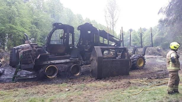 Four large batteries were stolen before the machines were deliberately set on fire – destroying them both.