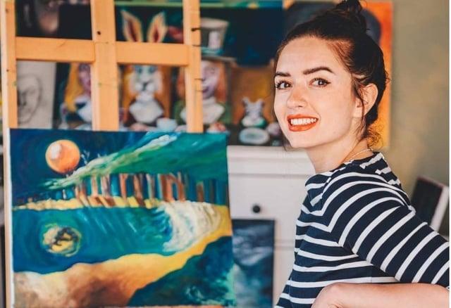 Jennifer Elson hard at work in her studio.