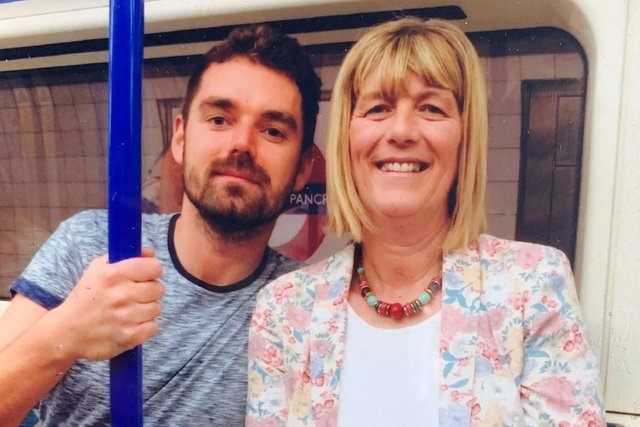 Jane Midgley with son Simon in happier times. She says she will not give up fighting for justice for Simon and his boyfriend Richard, who were unlawfully killed in a hotel fire in Scotland in 2017.