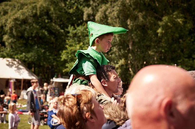 A young boy in costume at the Robin Hood Festival in 2017. Picture by Stephen Morgan.