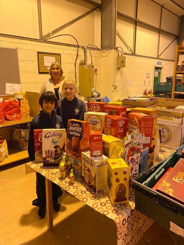 Barlborough Hall School pupils delivering Easter eggs to the New Hope Food Bank.