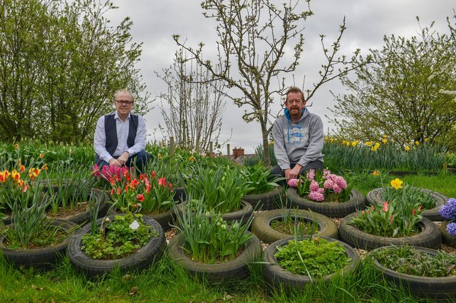 Pictured from left are Steve Williams, church pastor and centre manager, and volunteer gardener Mark Evans