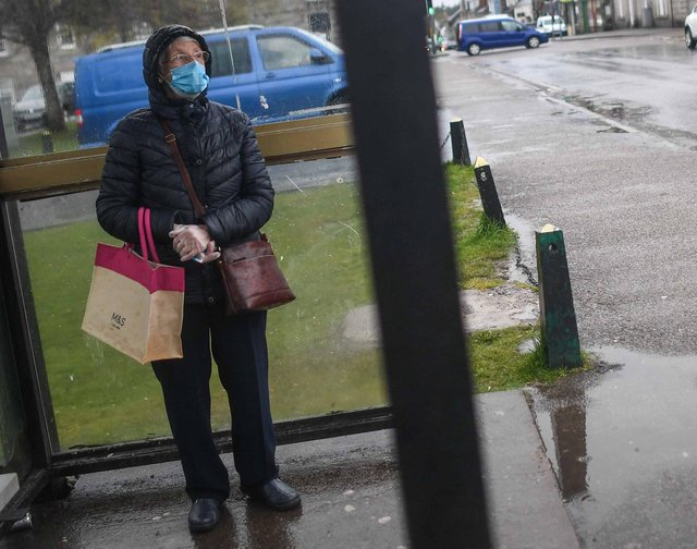 An elderly woman is seen wearing a face mask (Photo by Peter Summers/Getty Images)