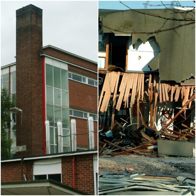 Portland School, in Worksop, before and during its demolition.