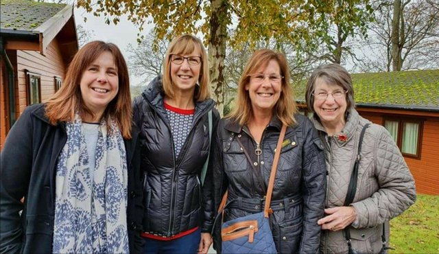 L to R  Paula Young, 48, Andrea Fiford 55 and Jan Hughes 53 with mum Carole Dyson