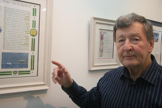Clive Brookes at the poetic art exhibition, which is on display at Worksop Library.