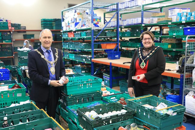 Mayor of Worksop Councillor Tony Eaton with Bassetlaw District Council chairman Debbie Merryweather.