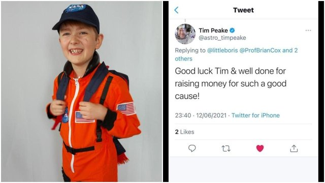Timmy has Autism and Ehlers-Danlos syndrome, so the 100 km walk (the distance of the border between the Earth's atmosphere and outer space) will be a huge challenge to for him - but one he is determined to successfully complete - especially after receiving tweets of support from astronaut Tim Peake and Professor Brian Cox.