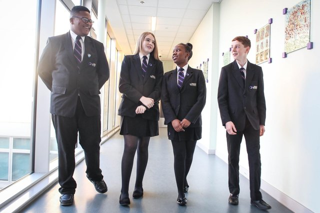 Staff at Outwood Academy Portland and Outwood Academy Valley areasking families to donate uniform as part of a recycling campaignalongside uniform supplier, Trutex.