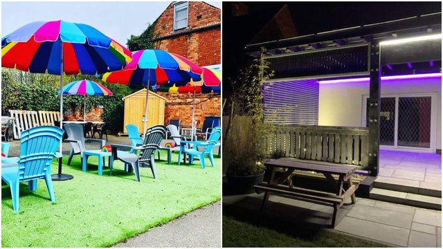 (Left) Carlton House's 'staycation' courtyard and (Right) the new seating area at the Station Hotel pub, also on Carlton Road.