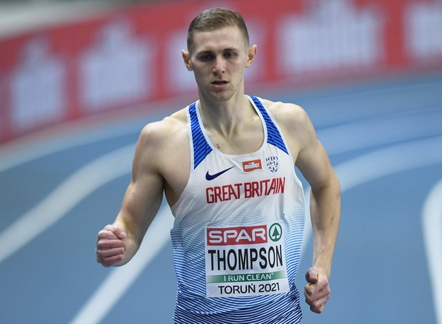 Lee Thompson anchored the GB men's relay team to third place in the final of the 4 x 400m at the European Indoor Championships in Toruń, Poland. (Photo by Piotr Hawalej/Getty Images)