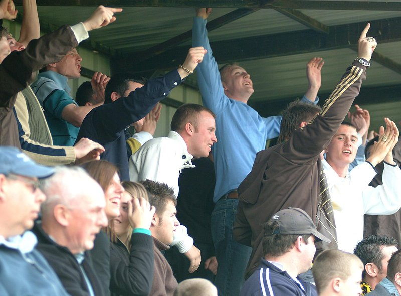 Worksop Town fans cheer their team on in a match against Moor Green in 2007. Photo: Mark Fear.