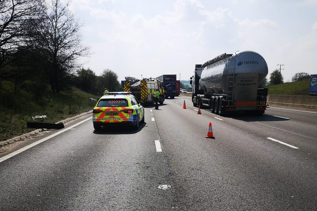 The M1 near Chesterfield is now back open again following a fire caused by fallen power lines.
