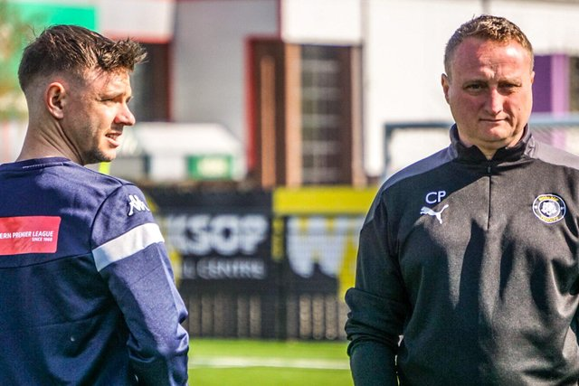 James Baxendale with boss Craig Parry. Pic by Lewis Pickersgill.