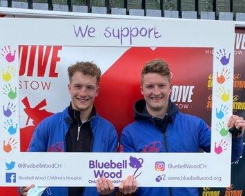 Brothers Max and Will Limb took to the skies to raise funds for Bluebell Wood Children's Hospice.