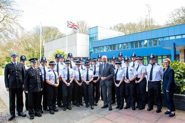 Senior Nottinghamshire Police officers with the latest batch of new recruits. Photo: Tracey Whitefoot