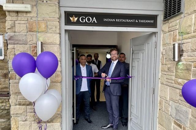 Alexander Stafford MP opens the new Goa restaurant in Thurcroft.