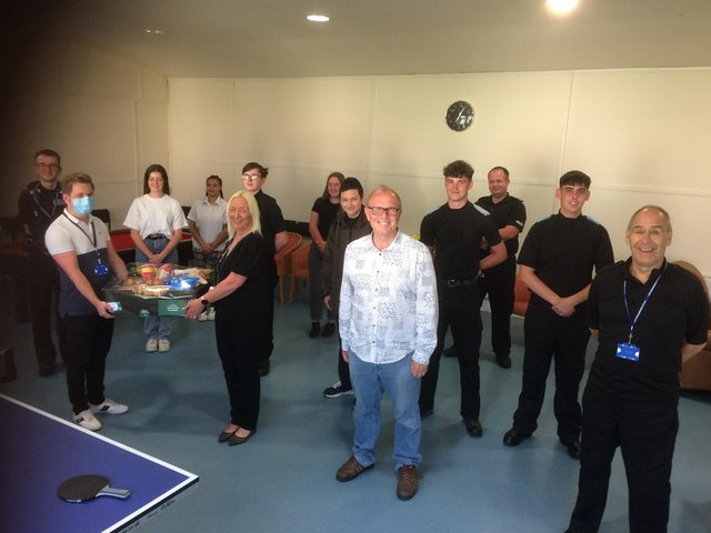 Mayor of Worksop and police cadet leader Councillor Tony Eaton reopens the new base alongside youngsters and staff.