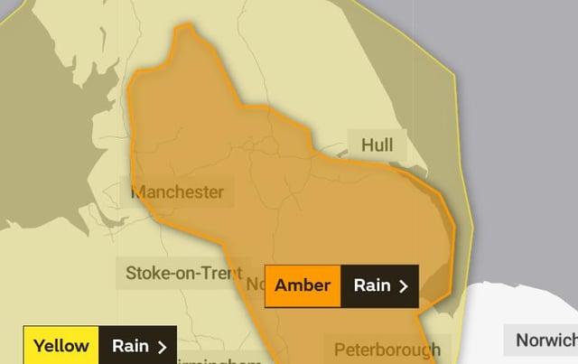 Amber warning for rain