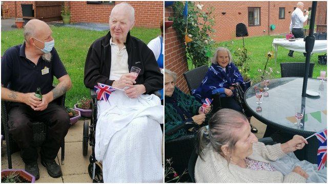 Residents at Worksop's Westwood Care Home enjoy a garden party to celebrate National Carers Week and the Queen's upcoming birthday.