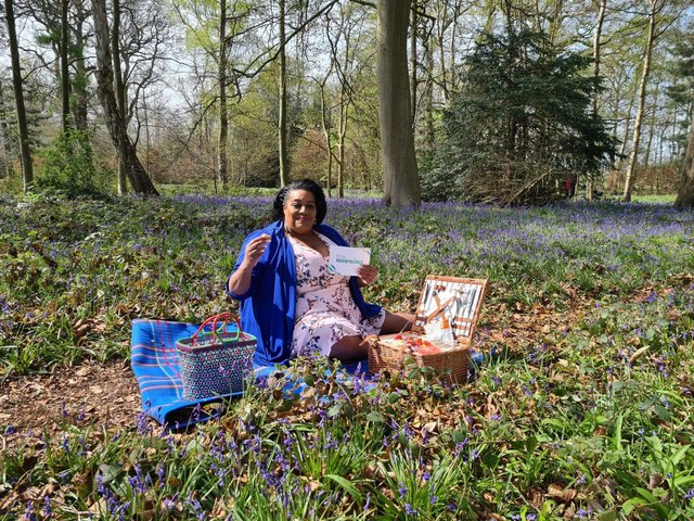 Alison Hammond enjoys a picnic among the bluebells at Worksop's Hodsock Priory.