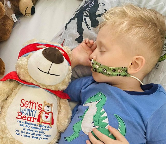Brave little Seth, five, has been through a lot in the past month, but has a whirlwind of support behind him.