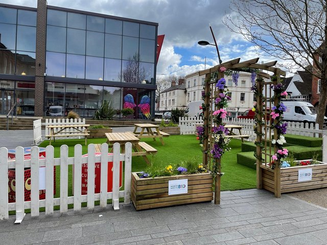 The pop up park in Old Market Square.