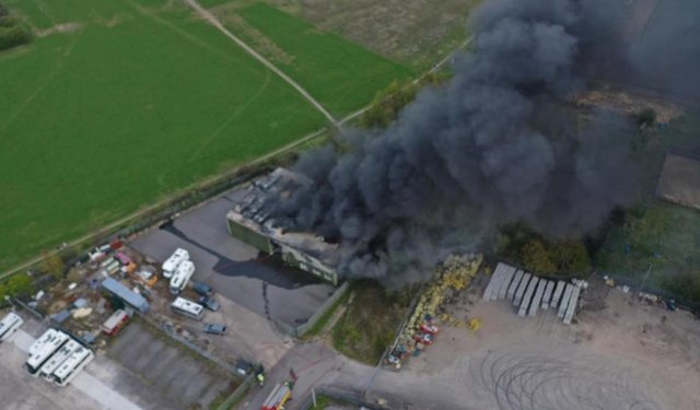 Aerial pictures taken by the emergency services of the Plum Tree Road industrial estate fire at Bircotes