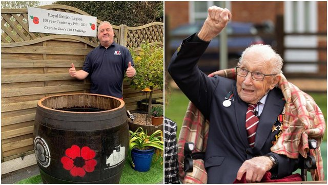 Mark Walker from Worksop (left) is ready to take on not one but three '100 challenges' in honour of Captain Sir Tom Moore (right). Pic: Getty