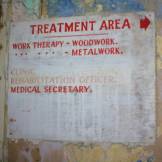 Hospital signs dating back to the 1970s remain.