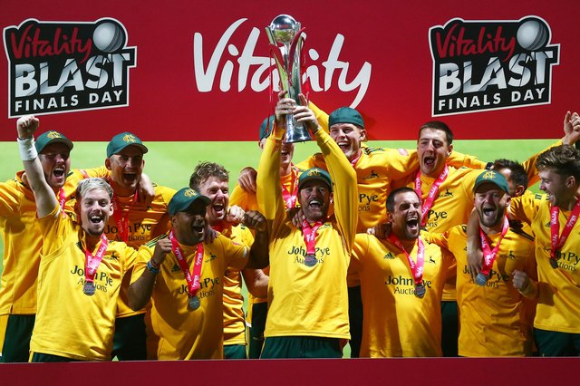 Notts Outlaws Captain Dan Christian lifts the trophy with his teammates after winning last year's T20 Vitality Blast. (Photo by Jordan Mansfield/Getty Images for Surrey CCC)