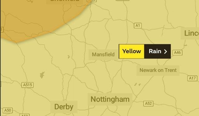 The Met Office has raised a yellow warning for rain in Mansfield