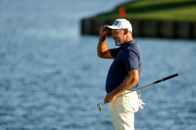 Lee Westwood reacts after finishing on the 18th green during the final round of The Players Championship at TPC Sawgrass on March 14, 2021 in Ponte Vedra Beach, Florida. (Photo by Kevin C. Cox/Getty Images)