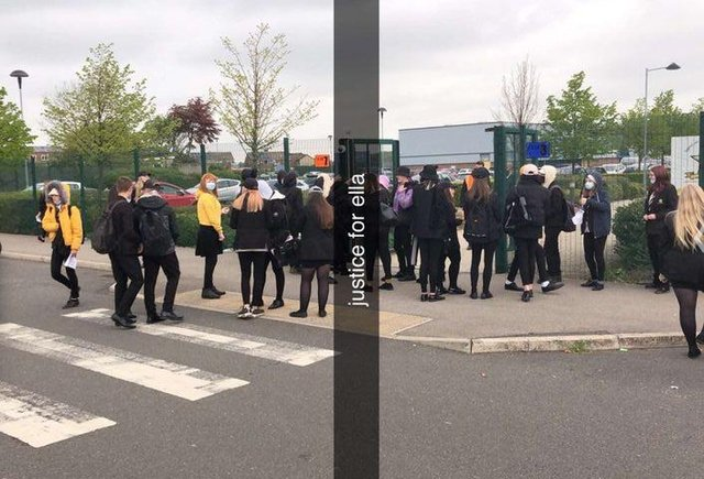 Students protested outside Heritage High School this morning in solidarity with their fellow pupil Ella Goodwin who has allegedly been told she cannot wear a cap to school despite losing her hair due to illness