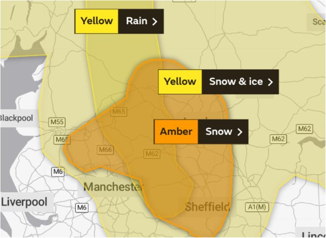 The Met Office has upgraded its snow warnings for Yorkshire and Derbyshire