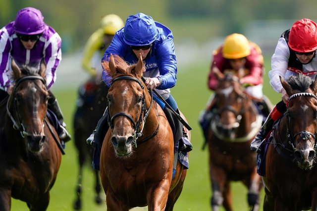 Hurricane Lane (centre), our expert's fancy for the Derby, wins the Dante Stakes at York last month. (PHOTO BY: Alan Crowhurst/Getty Images).