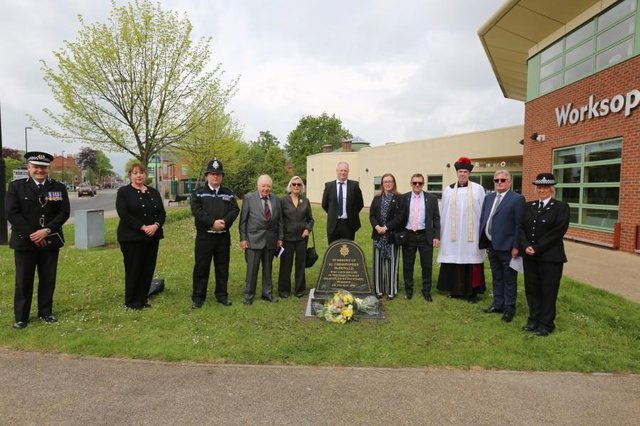 The unveiling was carried out at an emotional ceremony outside Worksop library today.