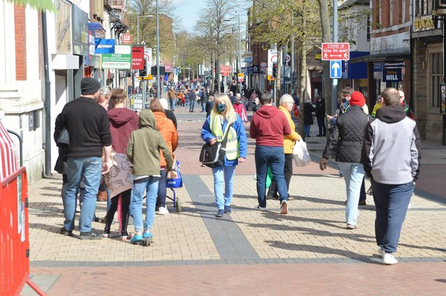 Shoppers flocked to Worksop town centre after lockdown measures were eased on Monday.
