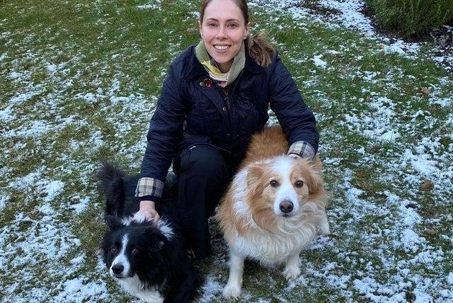 Nottinghamshire's Police and Crime Commissioner Emma Foody with her two dogs.